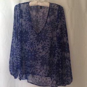Blue print blouse
